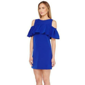 Tahari Blue Cold shoulder Ruffle Dress Sz 8